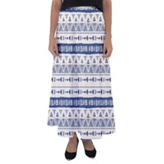 Native American Ornaments Watercolor Pattern Blue Flared Maxi Skirt
