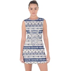 Native American Ornaments Watercolor Pattern Blue Lace Up Front Bodycon Dress