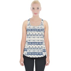 Native American Ornaments Watercolor Pattern Blue Piece Up Tank Top