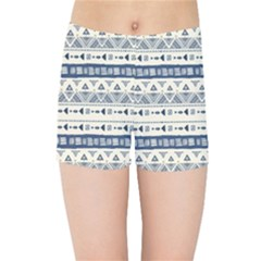 Native American Ornaments Watercolor Pattern Blue Kids Sports Shorts