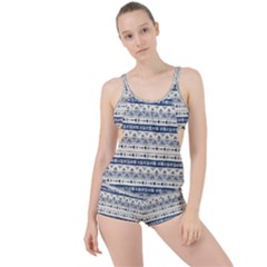 Native American Ornaments Watercolor Pattern Blue Boyleg Tankini Set