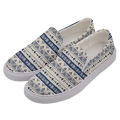 Native American Ornaments Watercolor Pattern Blue Men s Canvas Slip Ons by EDDArt