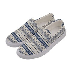 Native American Ornaments Watercolor Pattern Blue Women s Canvas Slip Ons by EDDArt