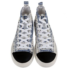 Native American Ornaments Watercolor Pattern Blue Men s Mid Top Canvas Sneakers