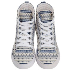 Native American Ornaments Watercolor Pattern Blue Women s Hi Top Skate Sneakers