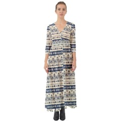 Native American Ornaments Watercolor Pattern Blue Button Up Boho Maxi Dress by EDDArt