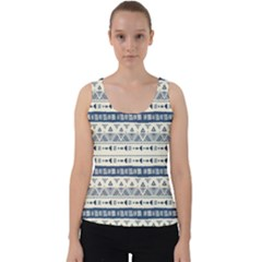 Native American Ornaments Watercolor Pattern Blue Velvet Tank Top