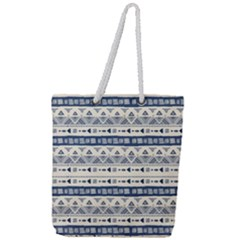 Native American Ornaments Watercolor Pattern Blue Full Print Rope Handle Tote (large)