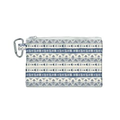 Native American Ornaments Watercolor Pattern Blue Canvas Cosmetic Bag (small)