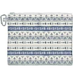 Native American Ornaments Watercolor Pattern Blue Canvas Cosmetic Bag (xxxl)