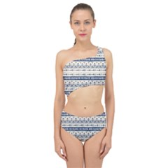 Native American Ornaments Watercolor Pattern Blue Spliced Up Two Piece Swimsuit