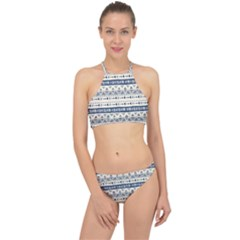 Native American Ornaments Watercolor Pattern Blue Racer Front Bikini Set by EDDArt