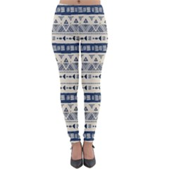 Native American Ornaments Watercolor Pattern Blue Lightweight Velour Leggings by EDDArt