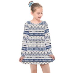 Native American Ornaments Watercolor Pattern Blue Kids  Long Sleeve Dress