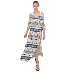 Native American Ornaments Watercolor Pattern Blue Maxi Chiffon Cover Up Dress