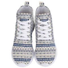 Native American Ornaments Watercolor Pattern Blue Women s Lightweight High Top Sneakers by EDDArt