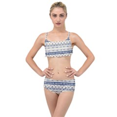 Native American Ornaments Watercolor Pattern Blue Layered Top Bikini Set