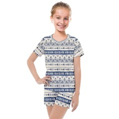 Native American Ornaments Watercolor Pattern Blue Kids  Mesh Tee And Shorts Set