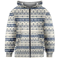 Native American Ornaments Watercolor Pattern Blue Kids Zipper Hoodie Without Drawstring