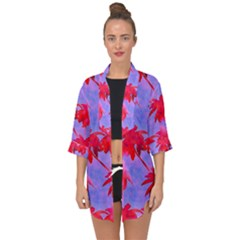 Palm Trees Neon Nights Open Front Chiffon Kimono by CrypticFragmentsColors