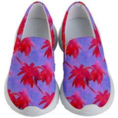 Palm Trees Neon Nights Kid s Lightweight Slip Ons by CrypticFragmentsColors