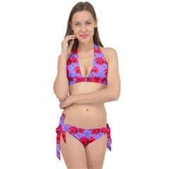 Palm Trees Neon Nights Tie It Up Bikini Set by CrypticFragmentsColors