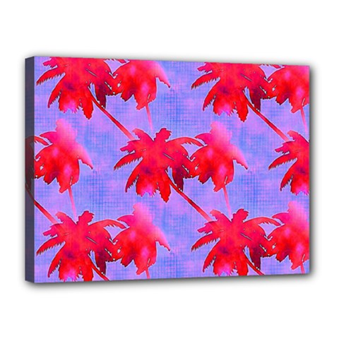 Palm Trees Neon Nights Canvas 16  X 12  by CrypticFragmentsColors