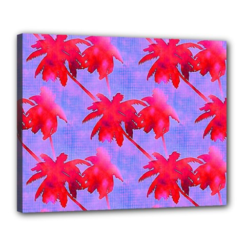 Palm Trees Neon Nights Canvas 20  X 16  by CrypticFragmentsColors