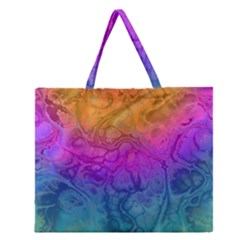 Fractal Batik Art Hippie Rainboe Colors 1 Zipper Large Tote Bag by EDDArt