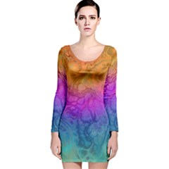 Fractal Batik Art Hippie Rainboe Colors 1 Long Sleeve Velvet Bodycon Dress by EDDArt