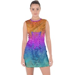 Fractal Batik Art Hippie Rainboe Colors 1 Lace Up Front Bodycon Dress by EDDArt