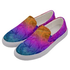 Fractal Batik Art Hippie Rainboe Colors 1 Men s Canvas Slip Ons by EDDArt