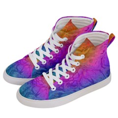 Fractal Batik Art Hippie Rainboe Colors 1 Men s Hi Top Skate Sneakers by EDDArt