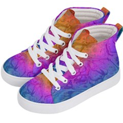 Fractal Batik Art Hippie Rainboe Colors 1 Kid s Hi Top Skate Sneakers by EDDArt