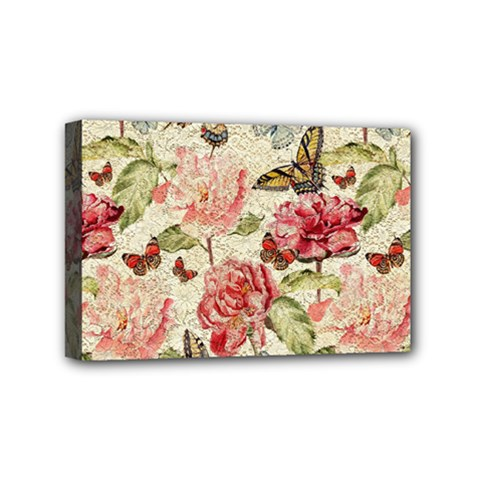 Watercolor Vintage Flowers Butterflies Lace 1 Mini Canvas 6  X 4  by EDDArt