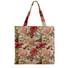 Watercolor Vintage Flowers Butterflies Lace 1 Grocery Tote Bag by EDDArt