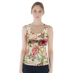 Watercolor Vintage Flowers Butterflies Lace 1 Racer Back Sports Top by EDDArt