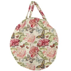 Watercolor Vintage Flowers Butterflies Lace 1 Giant Round Zipper Tote by EDDArt