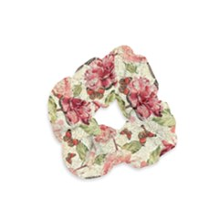 Watercolor Vintage Flowers Butterflies Lace 1 Velvet Scrunchie by EDDArt