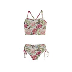 Watercolor Vintage Flowers Butterflies Lace 1 Girls  Tankini Swimsuit by EDDArt