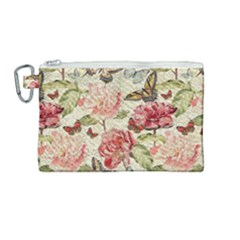 Watercolor Vintage Flowers Butterflies Lace 1 Canvas Cosmetic Bag (medium)