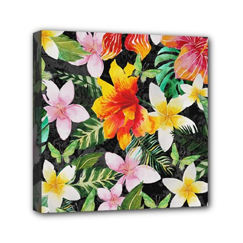 Tropical Flowers Butterflies 1 Mini Canvas 6  X 6  by EDDArt