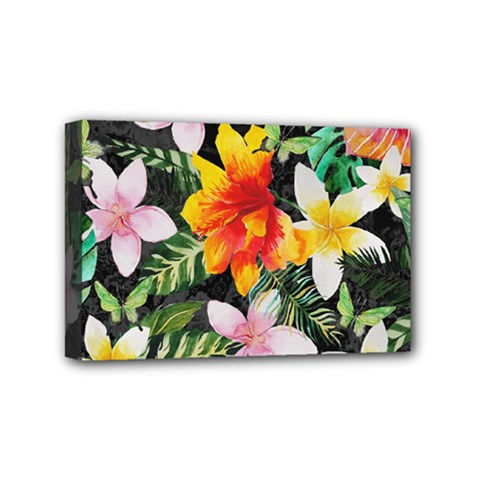 Tropical Flowers Butterflies 1 Mini Canvas 6  X 4  by EDDArt