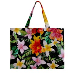 Tropical Flowers Butterflies 1 Zipper Mini Tote Bag by EDDArt