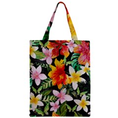 Tropical Flowers Butterflies 1 Zipper Classic Tote Bag by EDDArt