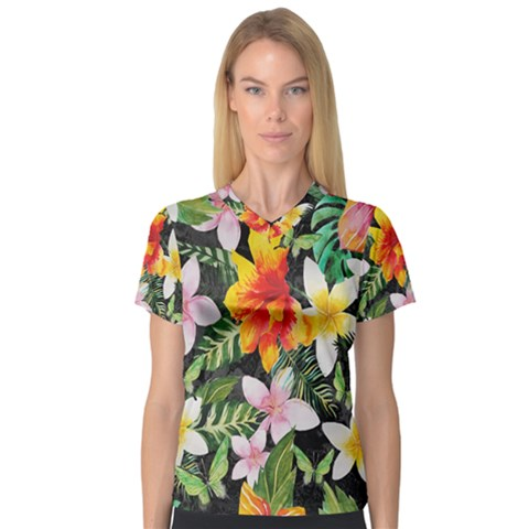 Tropical Flowers Butterflies 1 V-neck Sport Mesh Tee by EDDArt