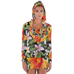 Tropical Flowers Butterflies 1 Long Sleeve Hooded T-shirt by EDDArt