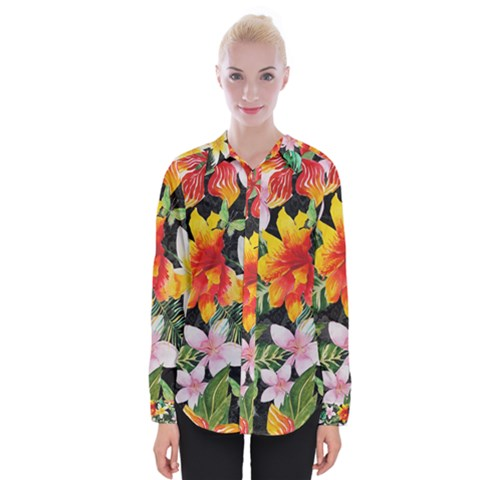 Tropical Flowers Butterflies 1 Womens Long Sleeve Shirt by EDDArt