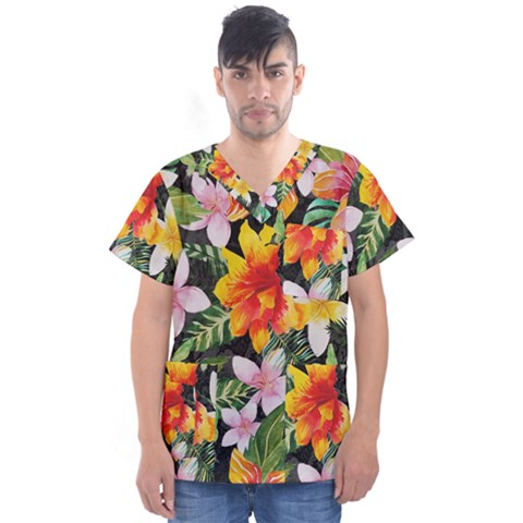 Tropical Flowers Butterflies 1 Men s V-neck Scrub Top by EDDArt