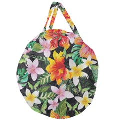 Tropical Flowers Butterflies 1 Giant Round Zipper Tote by EDDArt